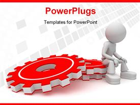 PowerPoint template displaying a 3D graphics sitting on a stack or red gears
