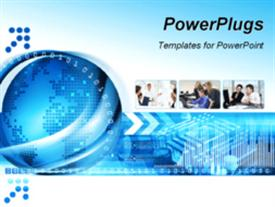 PowerPoint template displaying technology background with computer components and world