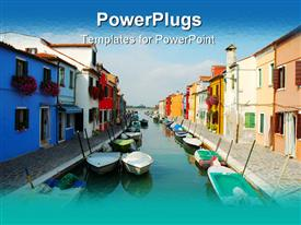 PowerPoint template displaying houses side blue lake boats