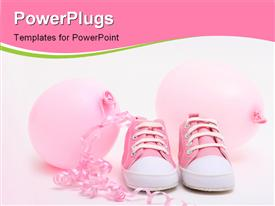 Pink shoes and balloons for a newborn girl template for powerpoint
