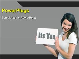 PowerPoint template displaying a happy girl proposing with grayish background