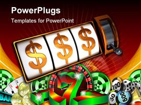 PowerPoint template displaying a beautiful depiction of dollar signs with jackpot and nice background