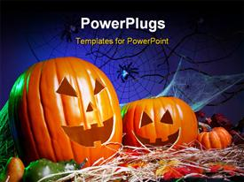PowerPoint template displaying a lot of pumpkins for Halloween and bluish background