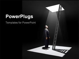 PowerPoint template displaying man standing in a pit looking up to the ladder that leads out in to the light in the background.