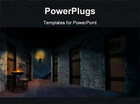 PowerPoint template displaying a beautiful depiction of a house along with dark background