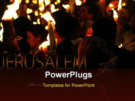PowerPoint template displaying holy pilgrimage to Jerusalem with pilgrims holding lighted candles