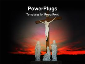 PowerPoint template displaying depiction of crucifixion with Christ on cross and three statues