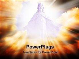 PowerPoint template displaying jesus in the clouds with a lot of light