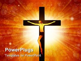 PowerPoint template displaying the Jesus on the cross with light in the background