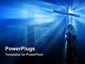 PowerPoint template displaying jesus with cross, blue background, religious