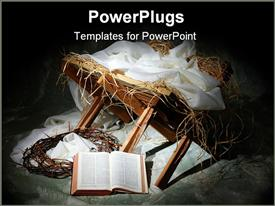 Story of Christmas with open Bible to John 3:16 powerpoint template