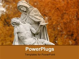 PowerPoint template displaying a statue of Jesus Christ and his mother holding him