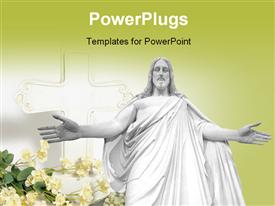 PowerPoint template displaying a Jesus with a yellowish background and place for text