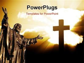 PowerPoint template displaying depiction of Christ's resurrection with statue of Jesus and cross