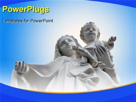 PowerPoint template displaying a white statue of Mother Mary and Baby Jesus