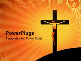 PowerPoint template displaying crucifixion of Jesus Christ on cross over orange colored background