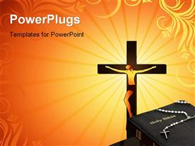 PowerPoint template displaying a cross with a rosary on a Holy Bible