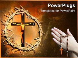 PowerPoint template displaying pair praying hands holding rosary next to Christ on cross framed by thorny crown