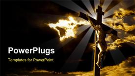 Crucifixion of Jesus Christ with dramatic sky in background powerpoint design layout