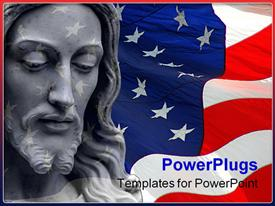 PowerPoint template displaying jesus on a flag background