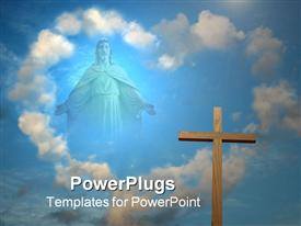 Statue of Jesus Christ on sky template for powerpoint