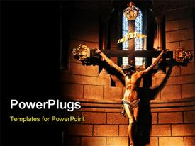 PowerPoint template displaying am image of Jesus Christ on the cross with bright lights