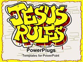 PowerPoint template displaying a beautiful representation of the words Jesus rules with white background