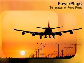 PowerPoint template displaying live long relax travel towards the orange yellow sunset landing in the airport