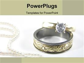 Beautiful gold and diamond rings powerpoint design layout