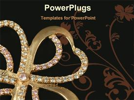 PowerPoint template displaying gold and diamond Four leaf clover