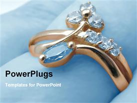 PowerPoint template displaying golden ring with jewel