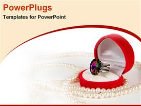 Ring in a jewellery box with pearl powerpoint template