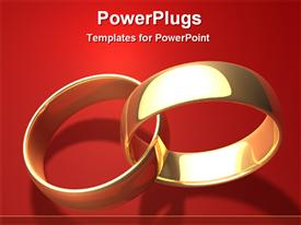 PowerPoint template displaying two golden rings on a red background