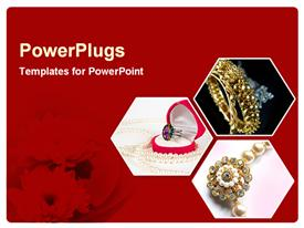 PowerPoint template displaying ruby ring, pearl necklace, jewelry, red floral background