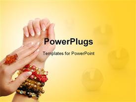 PowerPoint template displaying gems in background with ring on woman's hand and colored bracelets