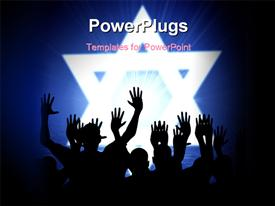 PowerPoint template displaying lots of people raising up their hands with large stars behind then