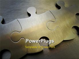 PowerPoint template displaying metallic jigsaw on a steel background