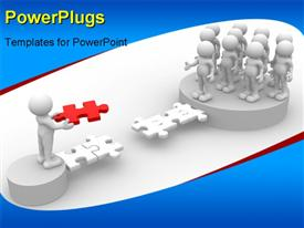 PowerPoint template displaying white figures on pedestals building jigsaw puzzle bridge