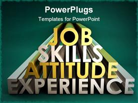 PowerPoint template displaying business Skills for a Job Career in 3D