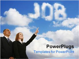 PowerPoint template displaying conceptual depiction - dream of job. Collage