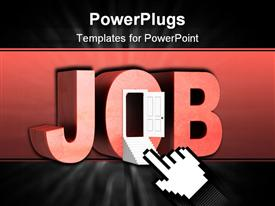 PowerPoint template displaying the word job with an opened door