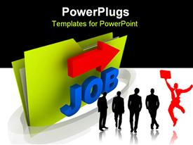 PowerPoint template displaying job folder computer generated depiction in the background.