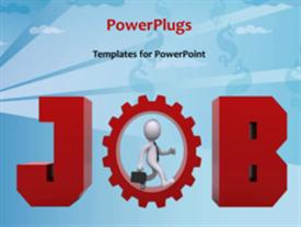 PowerPoint template displaying a person with a gear and bluish background