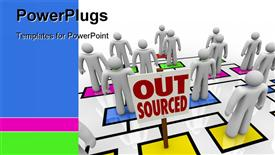 PowerPoint template displaying lots of 3D characters standing on colored boxes with a text that spell out the word