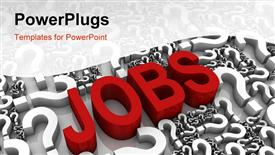 PowerPoint template displaying the word jobs with a number of queston marks