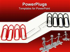 PowerPoint template displaying a number of paper clips with white background