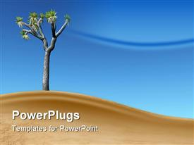PowerPoint template displaying joshua tree on a dune with blue sky and a cloud in the background.