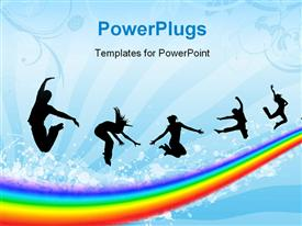 PowerPoint template displaying a number of people over the rainbow