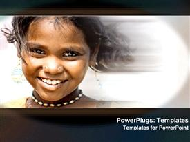 PowerPoint template displaying girl smiling with effects in the background.