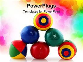 PowerPoint template displaying stack of colorful juggling balls, rainbow dot background